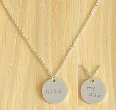 """Two Sided Charm Necklaces """"Kiss / my ass"""""""