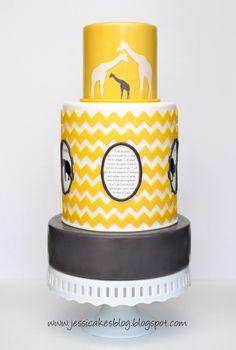 Chevron Inspired Safari Themed Baby Shower Cake