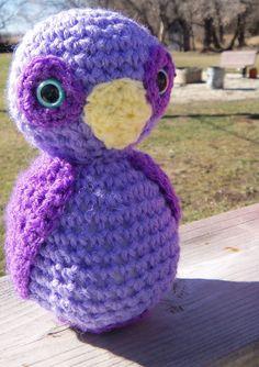 Owl, Purple crochet stuffed animal toy for children. safety eyes. $8.25, via Etsy.