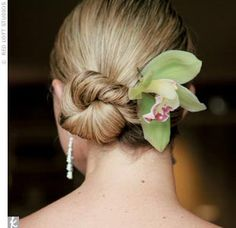 the knot - bride - getting ready - wedding hairstyle - updo - swept-up hair - green cymbidium orchid