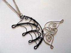 Wire Angel and Demon Wings Pendant #necklace #jewelry