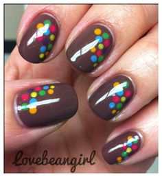 brown with colored polka dot nails :)