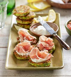 Zucchini fritters: Served as a meal or brought out as canapés at your next party, these fritters are delicious with a slick of mascarpone and slice of prosciutto.