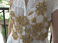 Golden flowers with Swarovski chrystals
