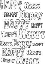 Line art word art #happy #coloringpage