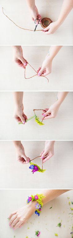 How to Make a Geometric DIY Flower Bracelet