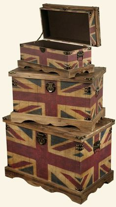 trunks wooden union, vintage patriotic decor, jack trunk, union jack furniture, trunk set, thing patriot, trunks, thing british, jack set