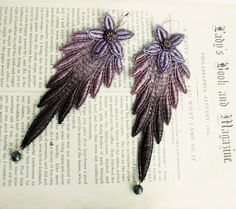 lace earrings DELPHIA ombre purple tinaevarenee on Etsy  #jewelry #laceearrings #fashion #ombre
