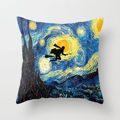 Harry Potter Van Gogh Starry Night Painting Throw Pillow Cover. o-o
