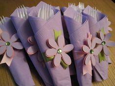 Napkins wrapped silverware