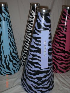 Custom Painted Zebra #Cheer #Megaphones #Bling