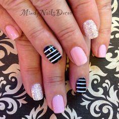 Pink and black nails design