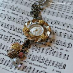 watch charm, pendant watch, charm necklac