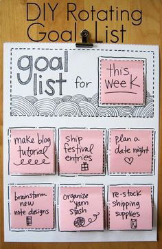 Goal list for me - materials needed for next group of sessions, paperwork, materials to purchase, etc