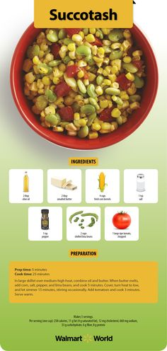 Brain grain! Corn is the star in this garden-fresh recipe for succotash shared with us by associate Rachelle F. of Store 1833 in Fredericksburg, Va. #health #fitness #brainfood #vegetables
