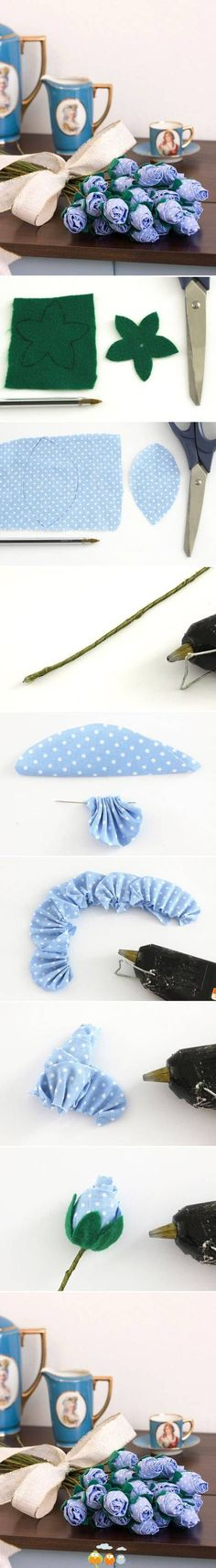 fabric roses, blue flowers, fabric flowers, sewing room decor, diy tutorial, cloth flowers, paper flowers, flower tutorial, diy projects