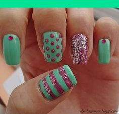 Light green and hot pink glittered nails