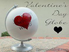 The V Spot: An easy Valentine's Day globe. beats, spots, tutorials, valentine day, easi valentin, globes, diy valentine's day, contact paper, valentines day decorations