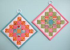 granni block, sew, craft, bees, granni pot, pot holder, bonnet, granny squares, quilted potholders