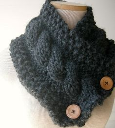 Knit Scarf Cable Cowl Made to Order in CHARCOAL by WindyCityKnits #scarf #cowl #black #fashion