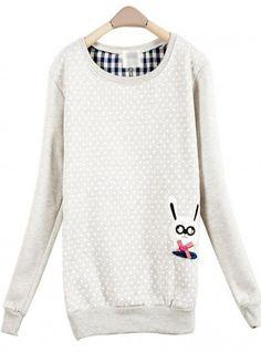 Gray Dot Rabbit Round Neck Long-sleeved Sweatshirt$36.00