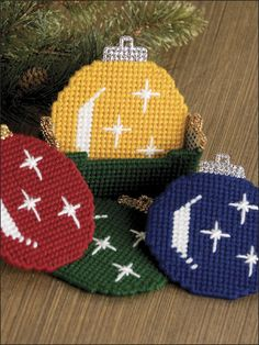 Christmas Ornament Coaster Set in Plastic Canvas