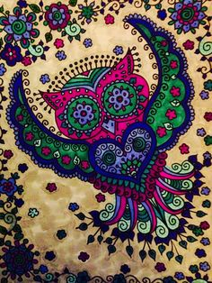 Sugar Skull Owl Art #2