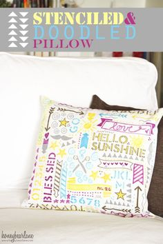 Doodled stenciled pillow created with FolkArt Handmade Charlotte stencils