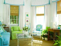 Green, blue and white living room