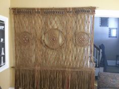 Vintage Retro Mid-Century 1970's Macrame Wall or Window Hanging / Room Divider