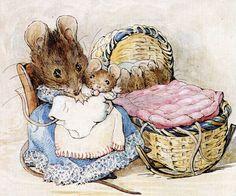 mice, art, beatrix potter, book, peter rabbit, children, babi, illustr, hunca munca
