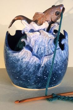 Hooked Fish yarn bowl. by EarthWoolFire on Etsy, £110.00
