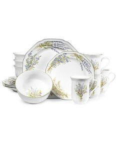 Mikasa Dinnerware, Botanical Bouquet 16 Piece Set - Casual Dinnerware - Dining & Entertaining - Macy's