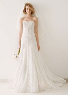 Tulle and Lace Gown with Overlay A-line Skirt - Wedding Dresses by Melissa Sweet - Loverly
