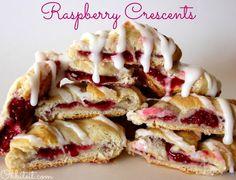 Glazed Raspberry Crescents from @Amy @Ohbiteit.com