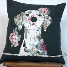 What I Always Wanted: Linen cushion with appliqued dalmatian dog design