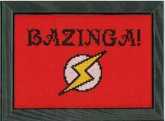 PATTERN - Big Bang Theory - Bazinga Cross Stitch. $6.00, via Etsy.
