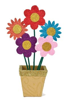 Nicole™ Crafts Glitter Flower Pot  #kids #crafts