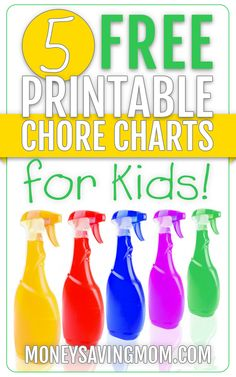 Want to develop a consistent chore system for your family? Here are five FREE printable chore charts -- some GREAT ideas here!