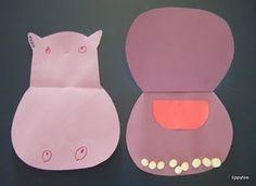 Happy Hippos Craft. The teeth are marshmallow's. Soooo cute!
