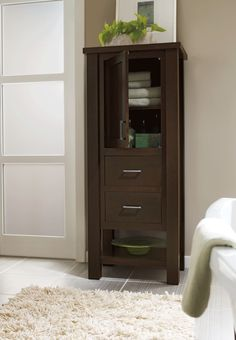 Linen #cabinets are perfect for adding more space and order to a small #bathroom, while adding the elegance and feel of free-standing #furniture. #OmegaVanityMakeover #contest