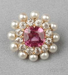 Antique 18kt Gold, Pink Sapphire, Pearl, and Diamond Brooch