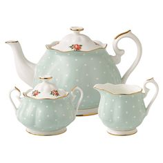 piec tea, polka dots, tea sets, albert polka, bone china, afternoon tea, vintage tea, blue roses, royal albert