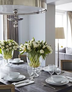 Upper West Side Waterfront Apartment table settings, decor, dining rooms, interior, dine room, tulip, tabl set, dining tables, flower