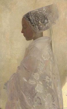 wonderful whites ! > Gaston La Touche (1854-1913), Une jeune fille dans la contemplation