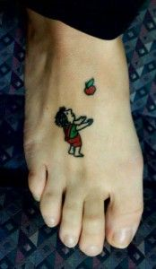I wouldn't get this on my foot but I do love Shel Silverstein and this is a pretty cute little tattoo. :)