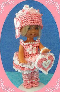 "Crochet Doll Clothes Valentine Cutie Pie for 4 ½"" Kelly & same sized dolls"