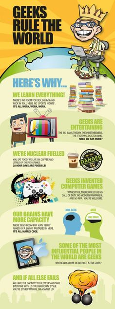 Geeks are everywhere, whether you recognize them or not, they do make the world goes around. #infographic
