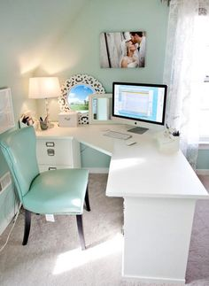 Peaceful working space wall colors, desk space, office spaces, office designs, corner desk, dream, tiffany blue, home offices, workspac