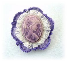 Lilac Cameo Brooch  Pretty Victorian Young Lady ♥ by CraftsbySigita, $10.99